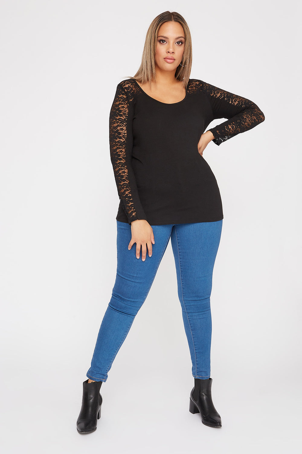 Plus Size Contrast Lace Long Sleeve Black