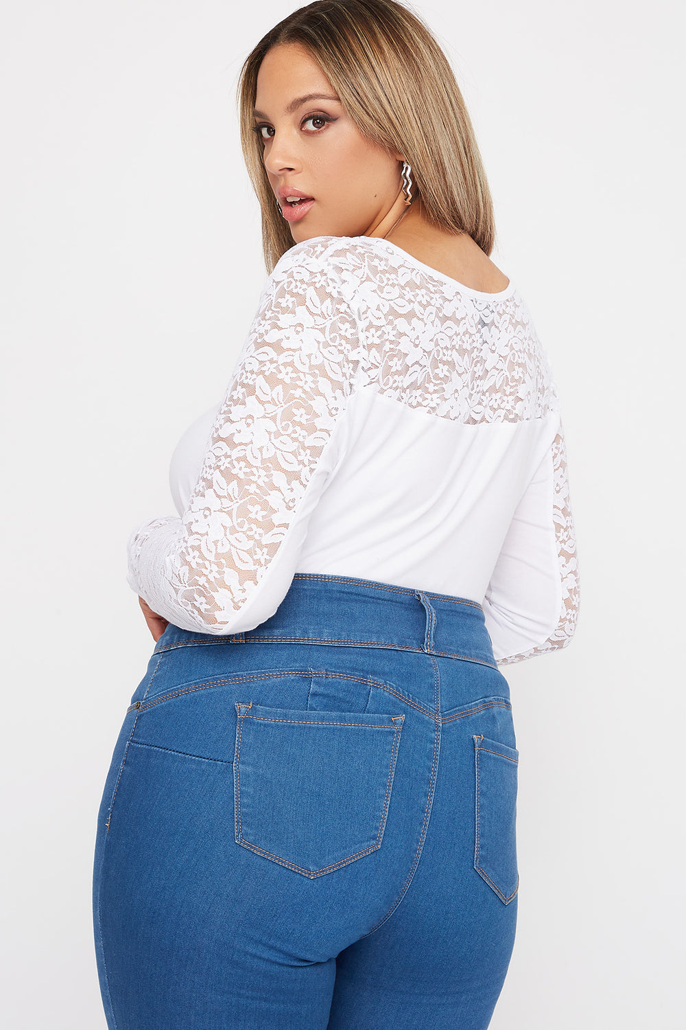 Plus Size Contrast Lace Long Sleeve White