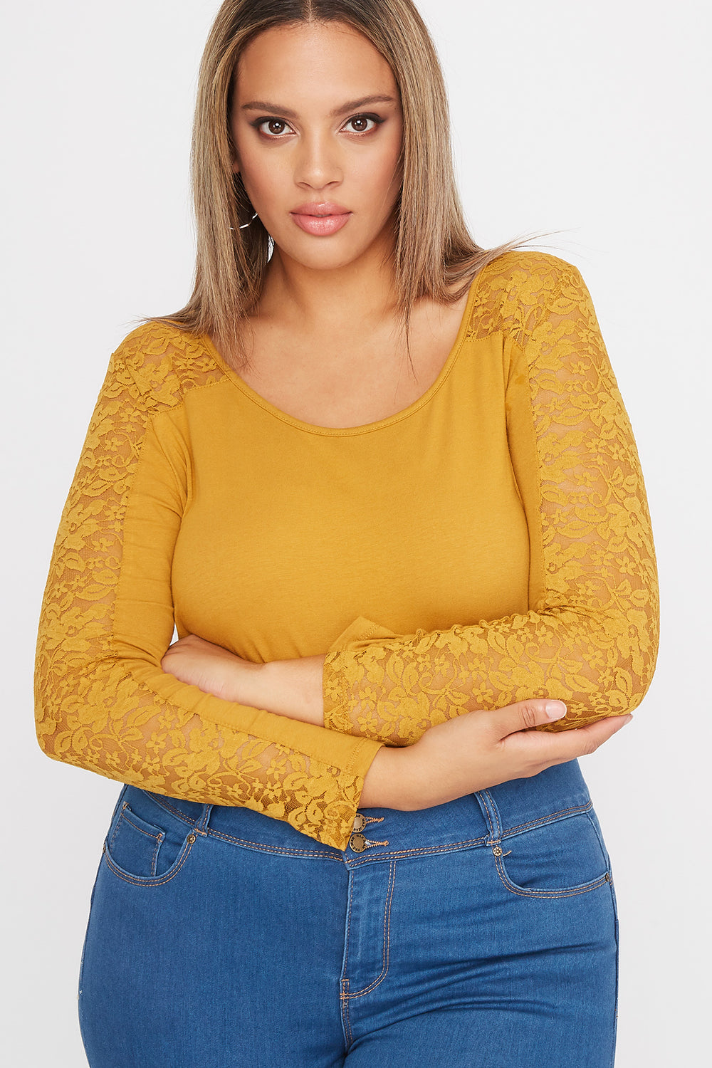 Plus Size Contrast Lace Long Sleeve Mustard