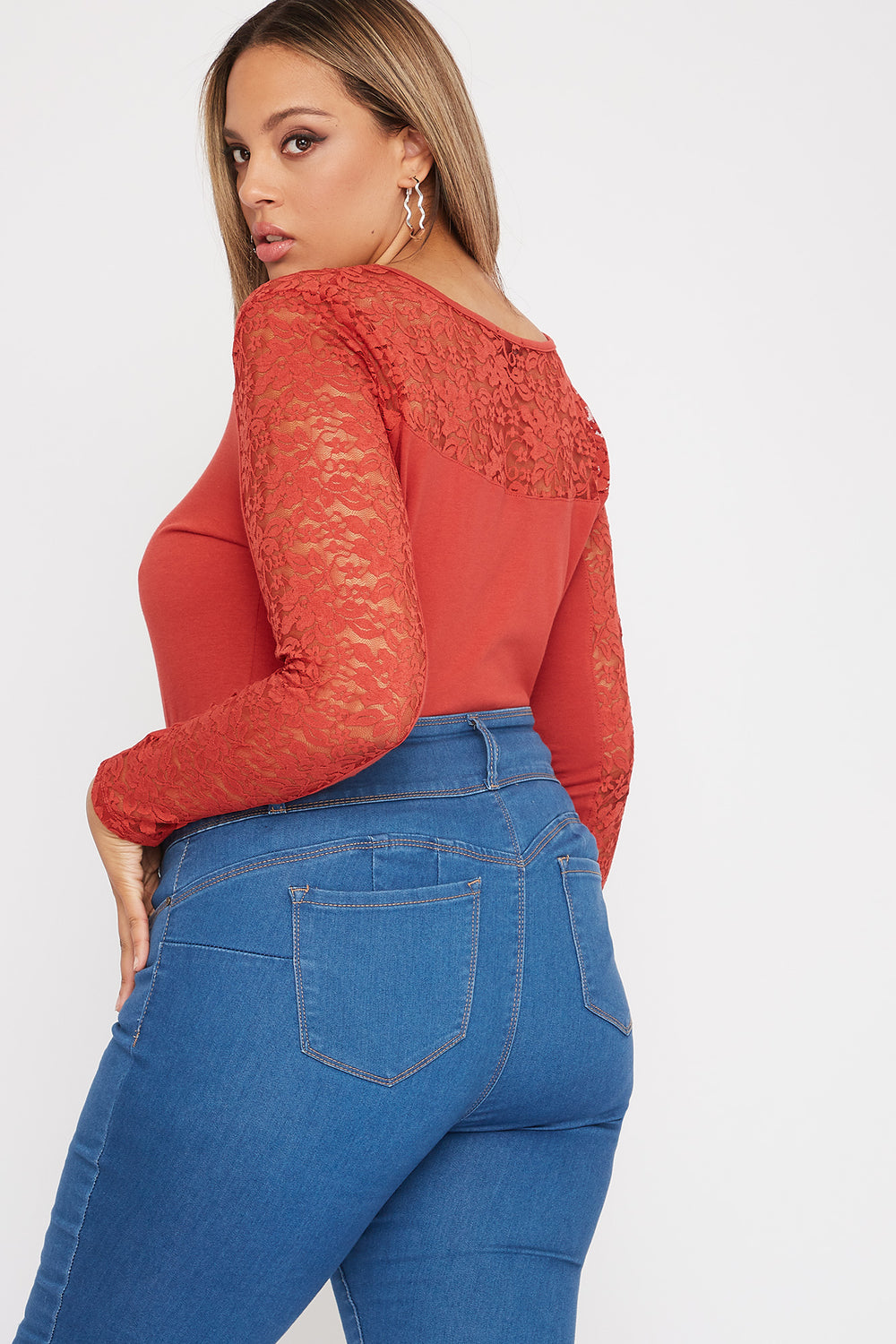 Plus Size Contrast Lace Long Sleeve Rust