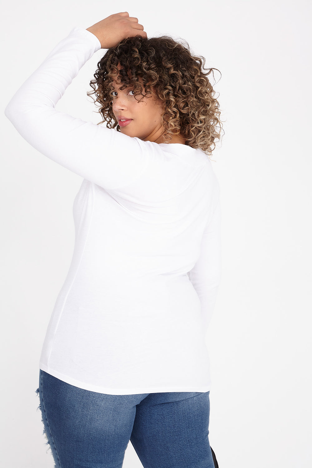 Plus Size Wide Band V-Neck Long Sleeve Top White