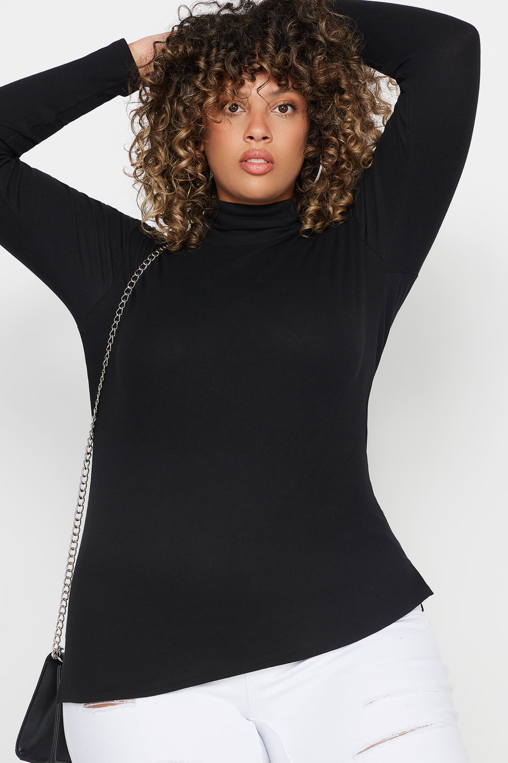 Plus Size Ribbed Turtleneck Long Sleeve Top Black