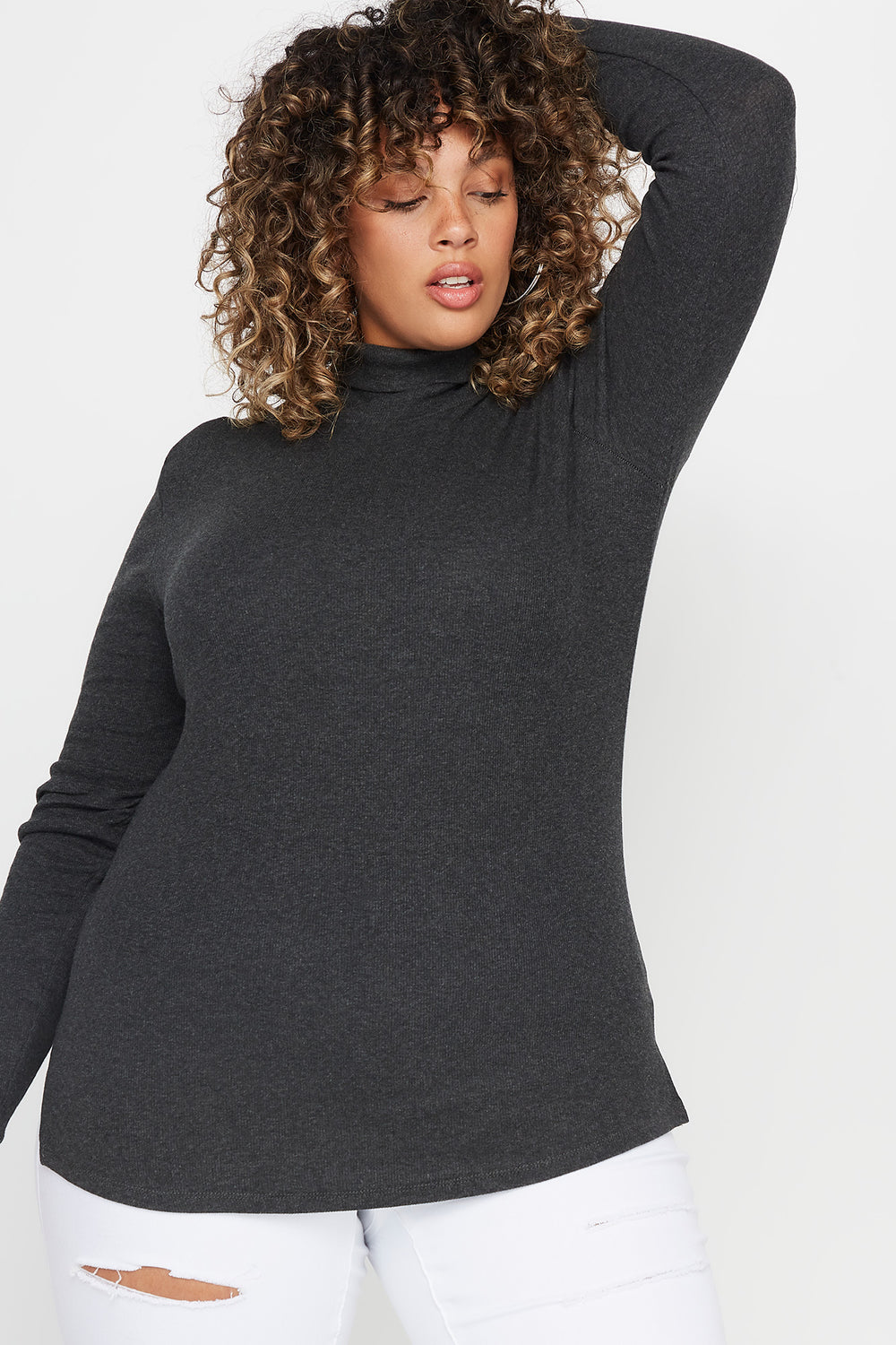 Plus Size Ribbed Turtleneck Long Sleeve Top Charcoal