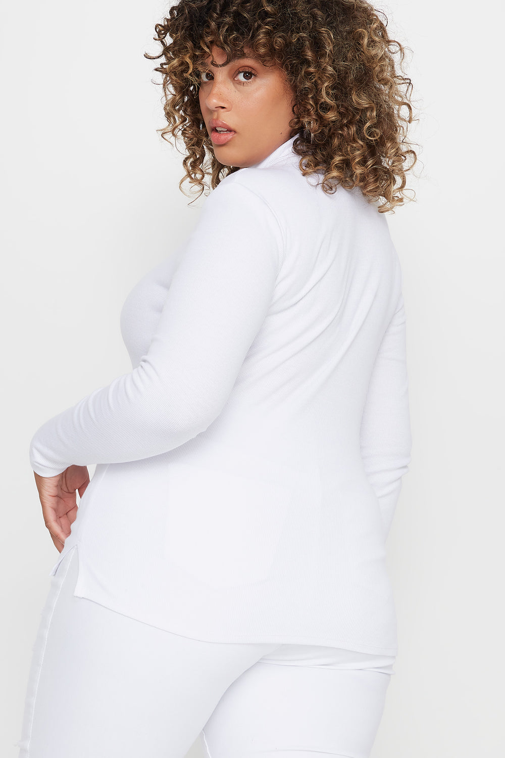 Plus Size Ribbed Turtleneck Long Sleeve Top White