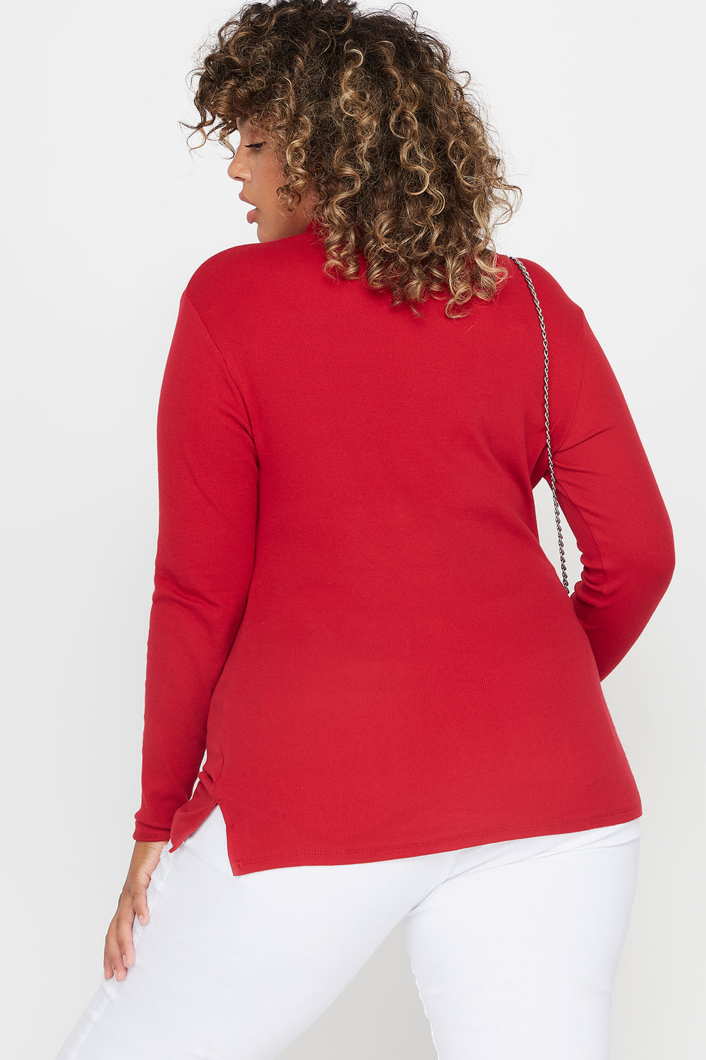 Plus Size Ribbed Turtleneck Long Sleeve Top Dark Red
