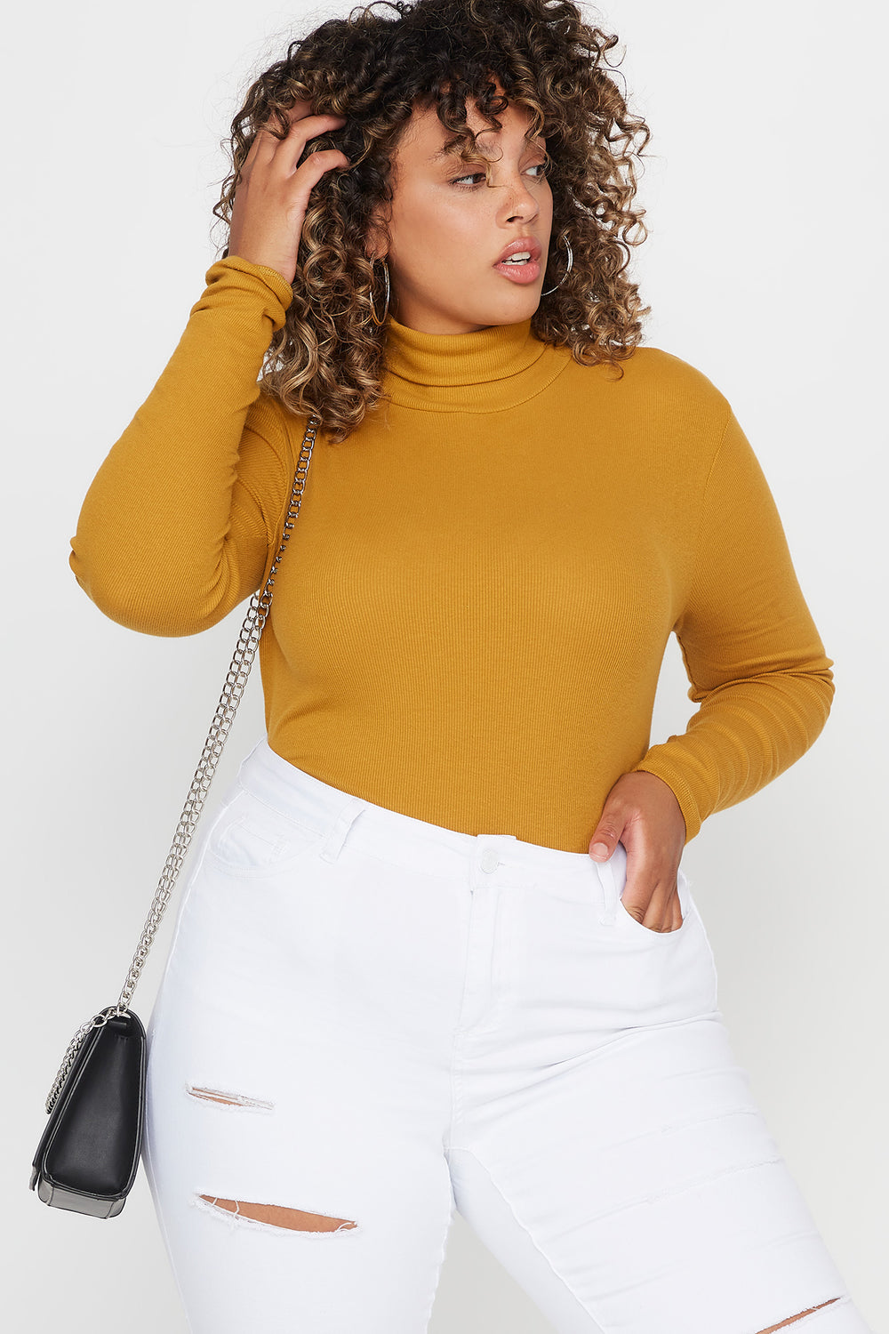 Plus Size Ribbed Turtleneck Long Sleeve Top Mustard