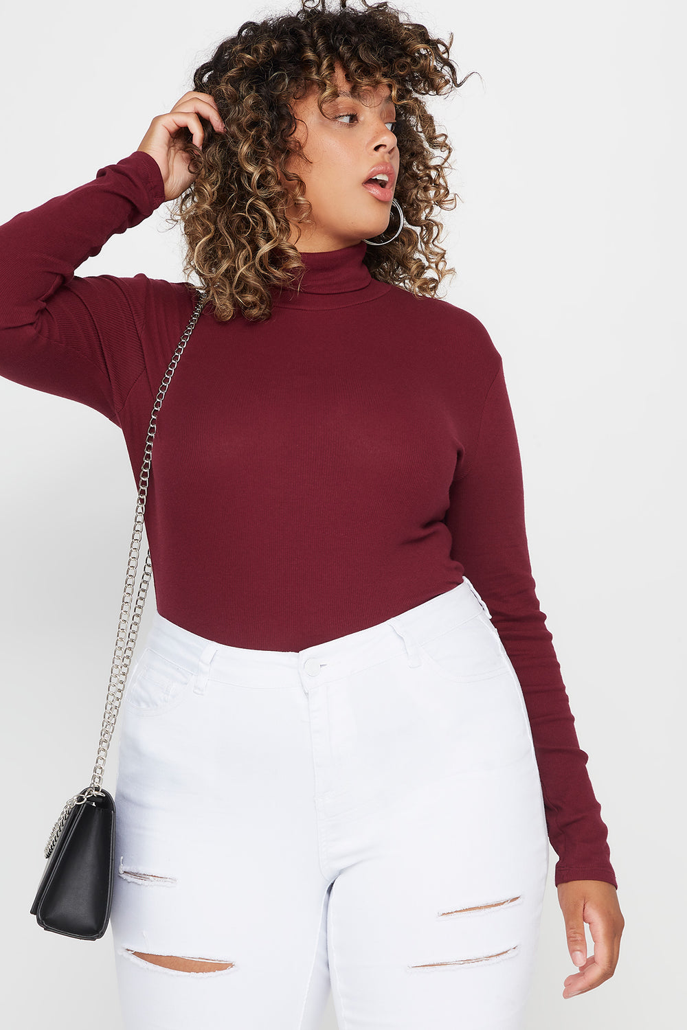 Plus Size Ribbed Turtleneck Long Sleeve Top Burgundy