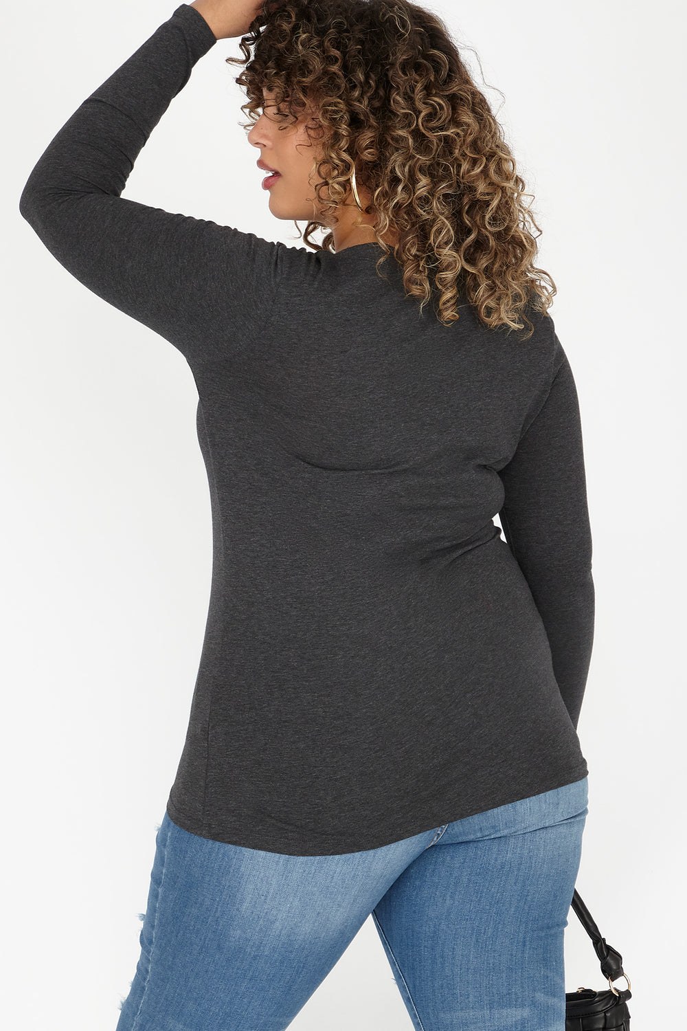 Plus Size V-Neck Long Sleeve Top Charcoal