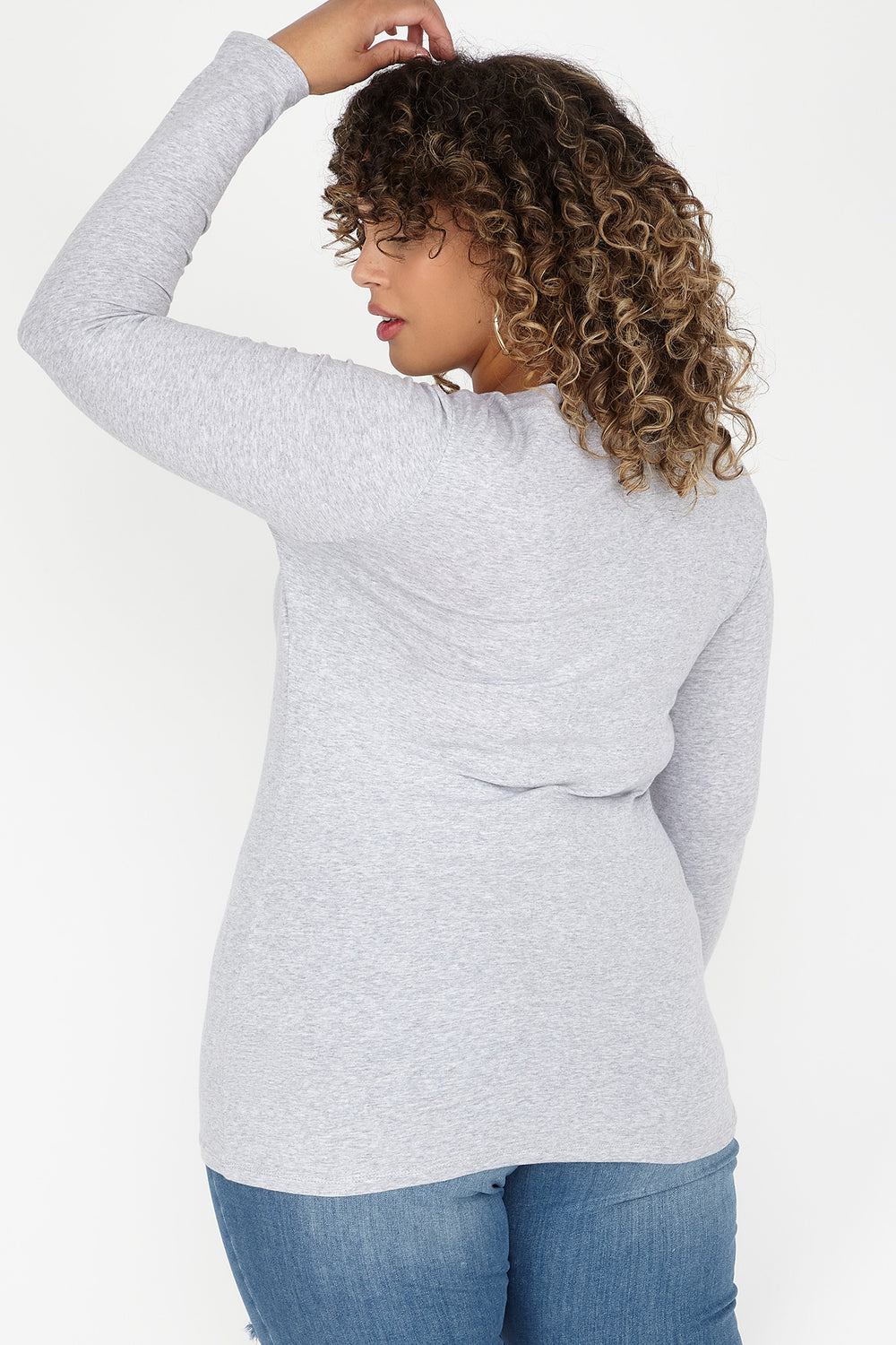 Plus Size V-Neck Long Sleeve Top Heather Grey