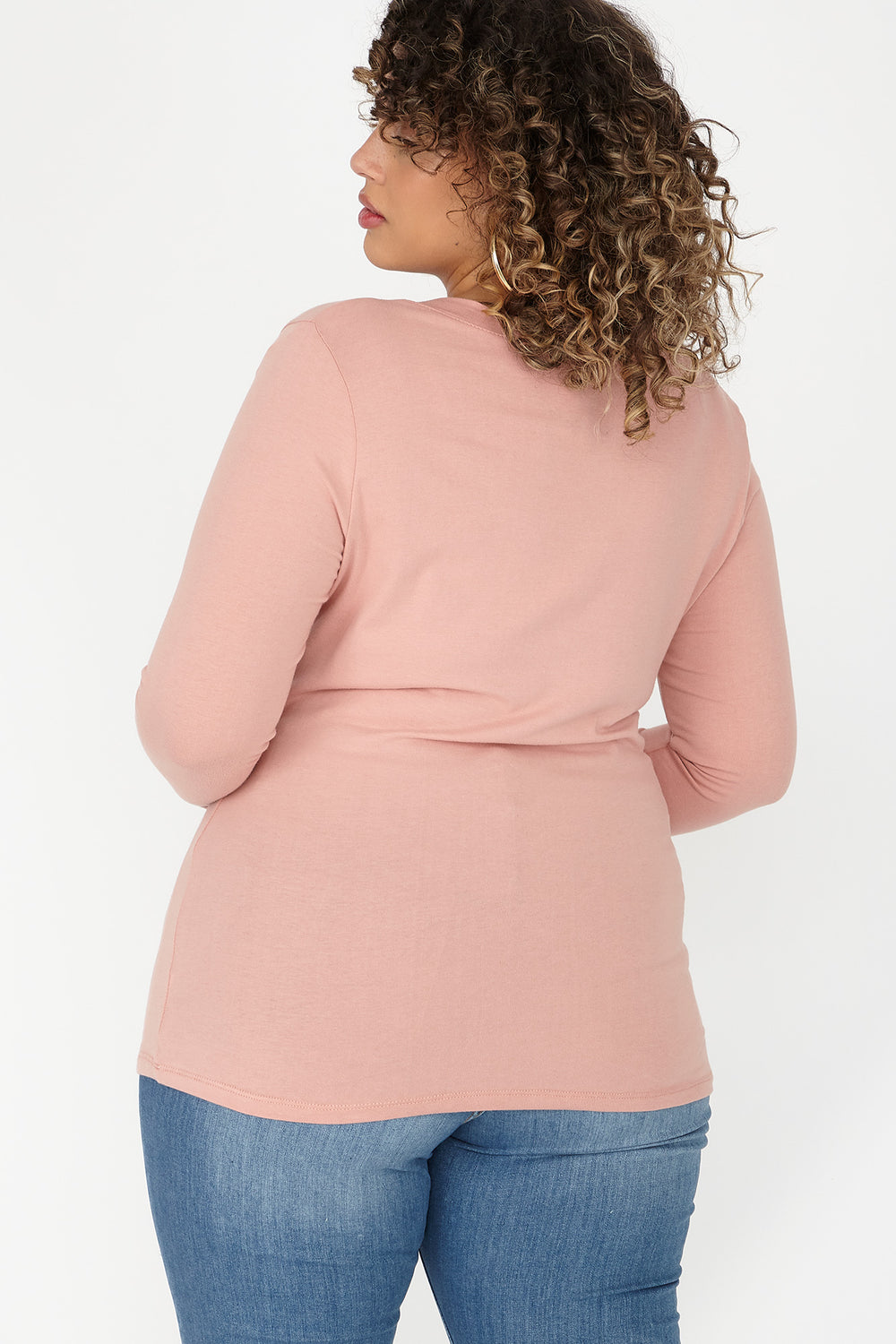 Plus Size V-Neck Long Sleeve Top Mauve