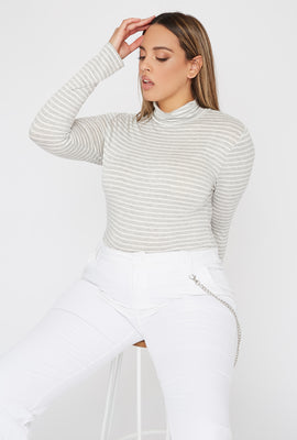 Plus Size Striped Mock Neck Long Sleeve
