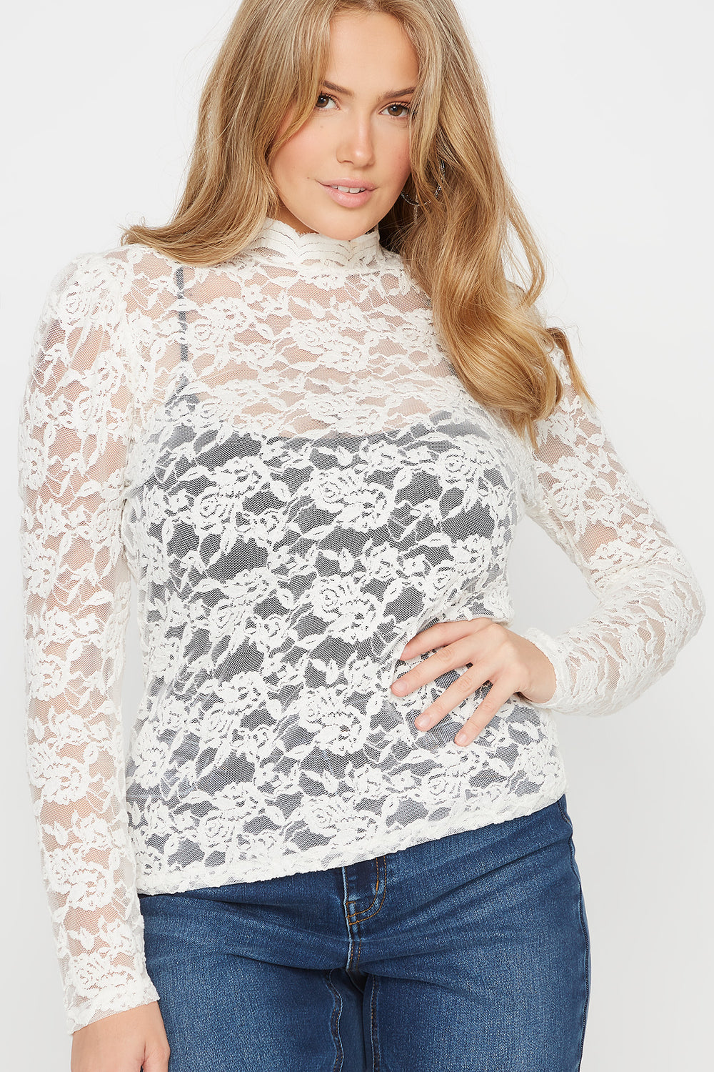 Plus Size Lace Mock Neck Long Sleeve Top Off White