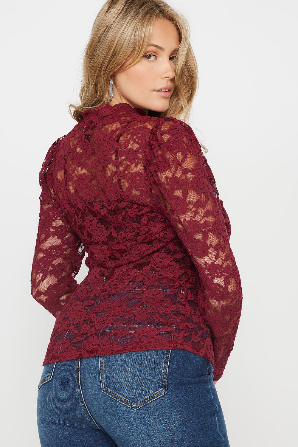 Plus Size Lace Mock Neck Long Sleeve Top Burgundy
