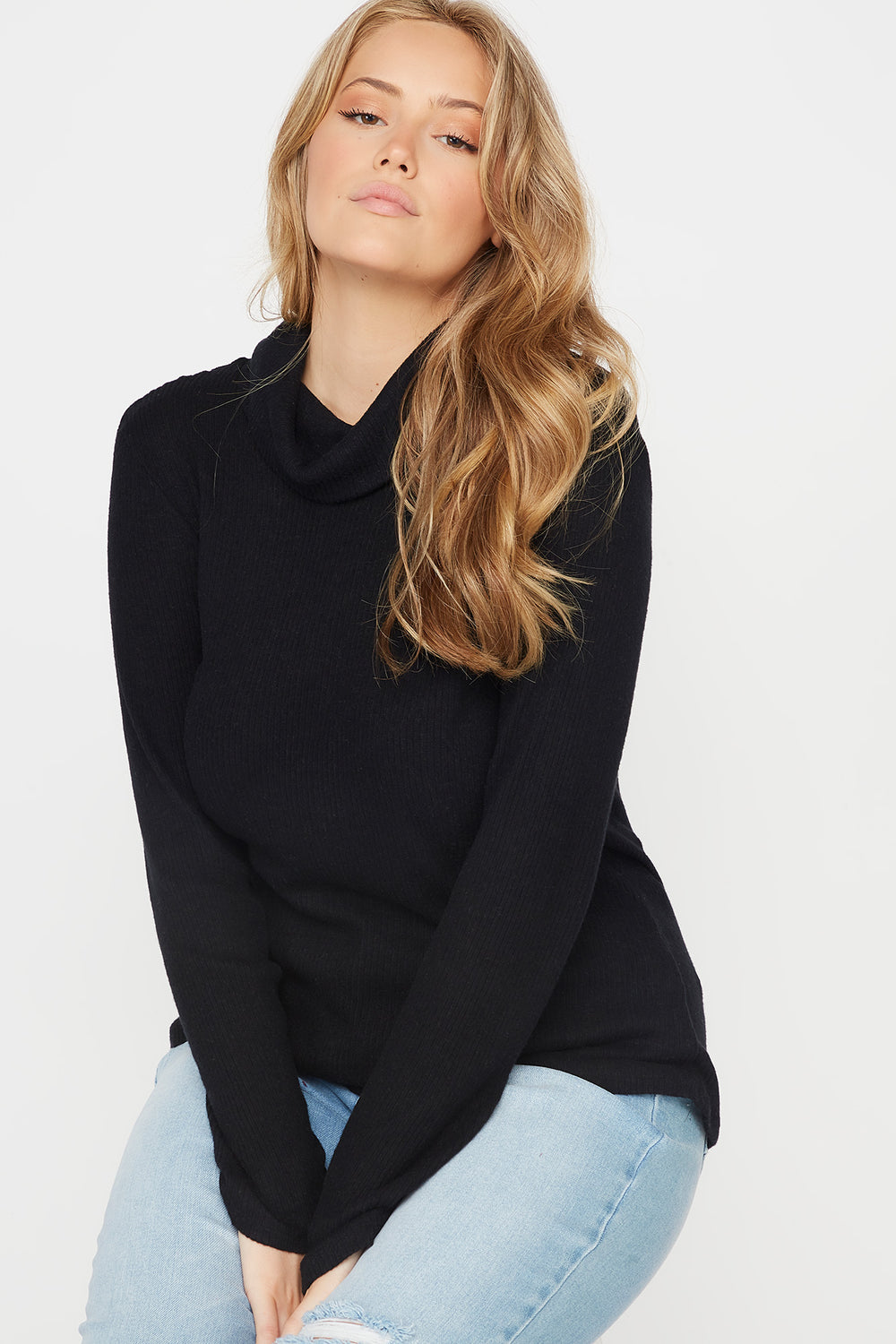 Plus Size Ribbed Cowl Neck Long Sleeve Top Black