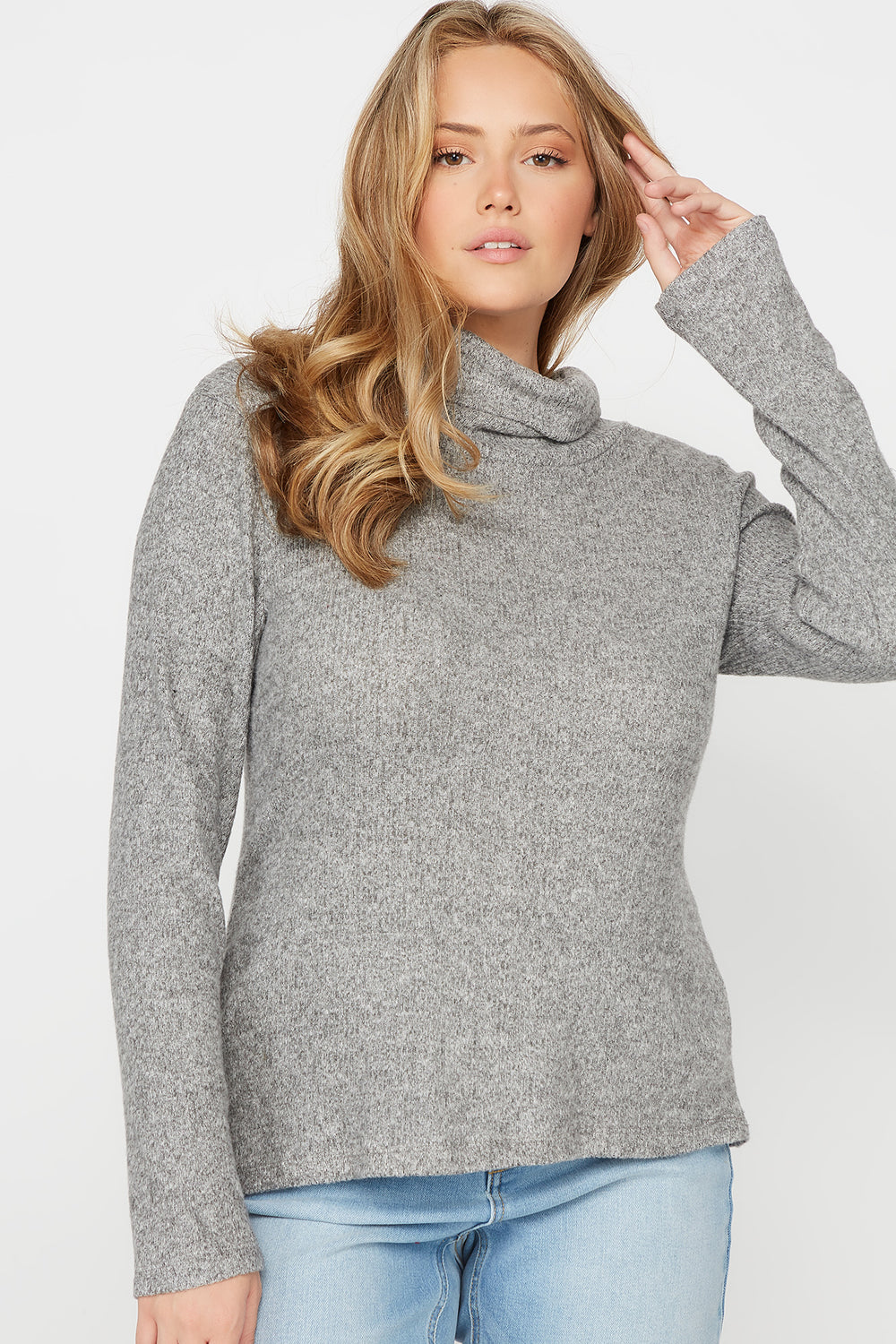 Plus Size Ribbed Cowl Neck Long Sleeve Top Heather Grey