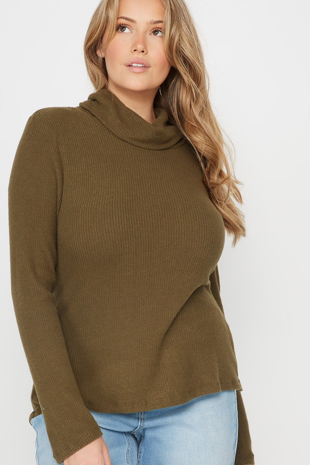 Plus Size Ribbed Cowl Neck Long Sleeve Top Dark Green