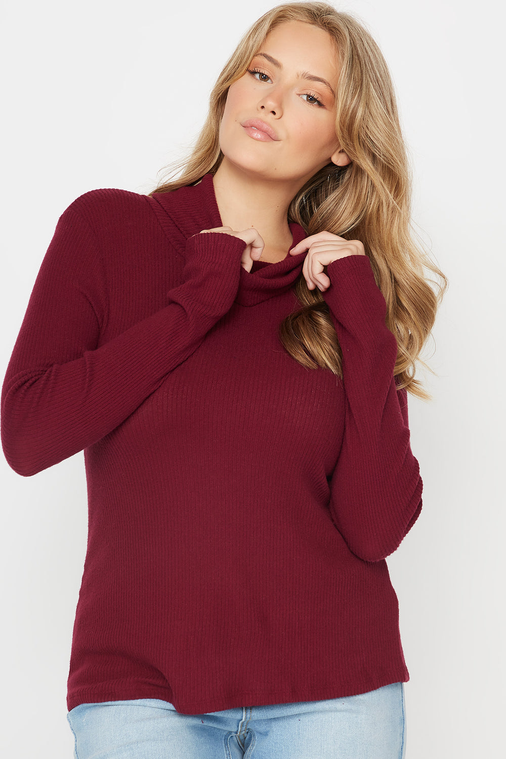 Plus Size Ribbed Cowl Neck Long Sleeve Top Burgundy