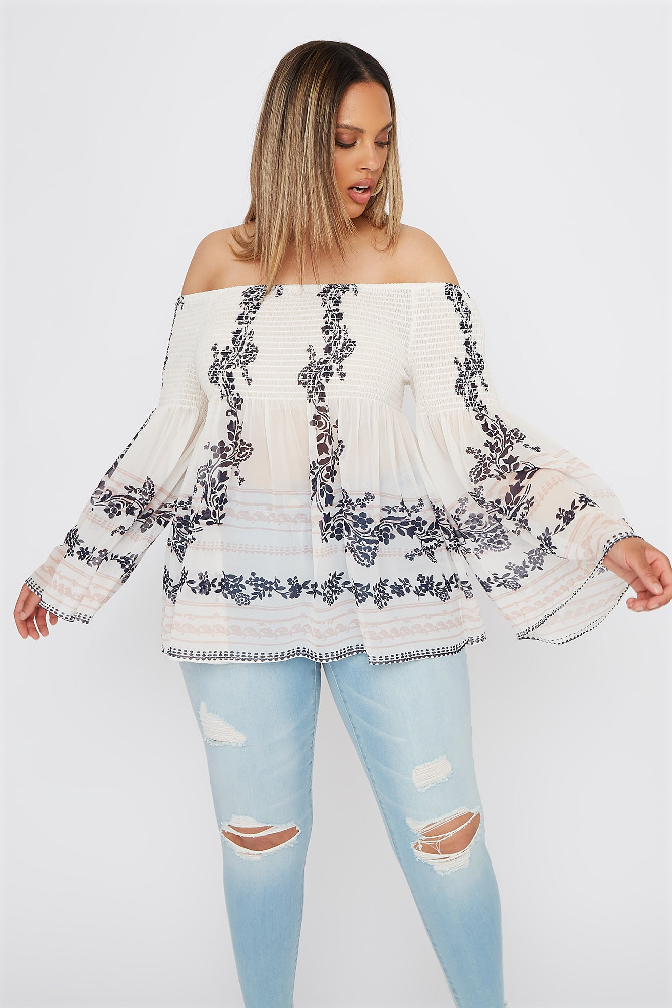 594a797ae Plus Size Floral Smocked Off the Shoulder Blouse
