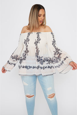 Plus Size Floral Smocked Off the Shoulder Blouse