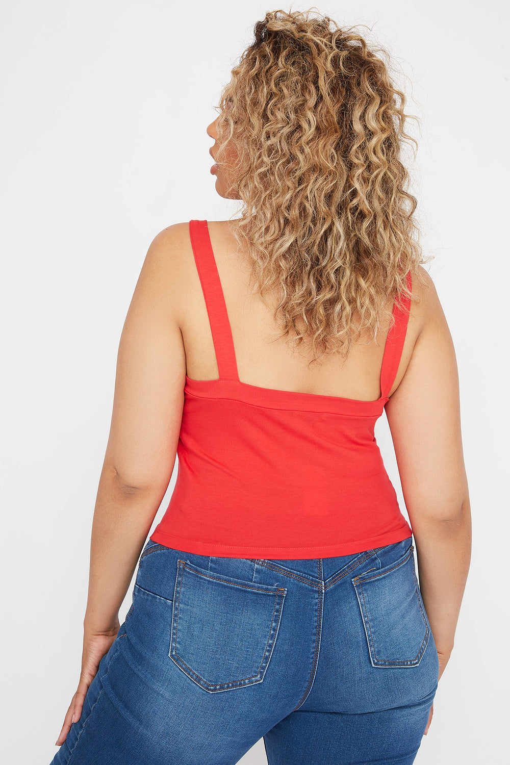 Plus Size Lace Up Tank Red