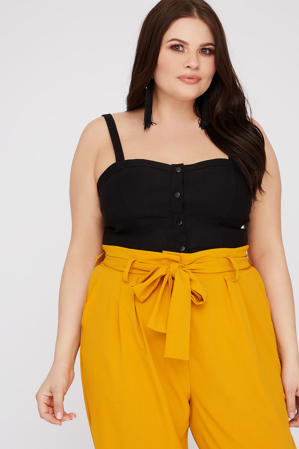 Plus Size Bustier Button-Up Cropped Tank Black