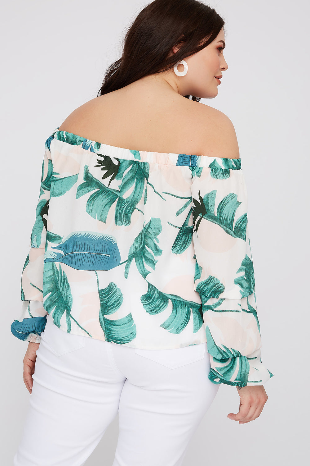 Plus Size Leaf Printed Off the Shoulder Long Sleeve Blouse White