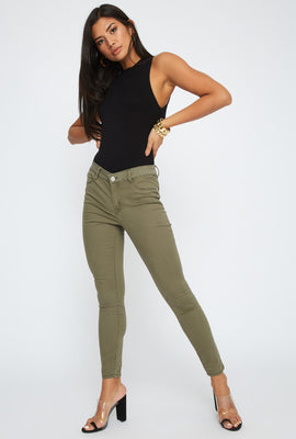 Jeggings de Cintura Alta Color Caqui