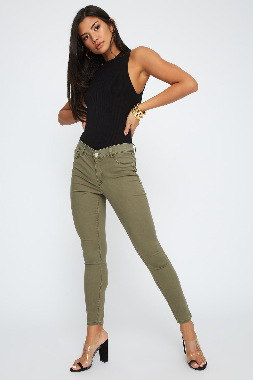 Refuge High-Rise Khaki Jegging Green