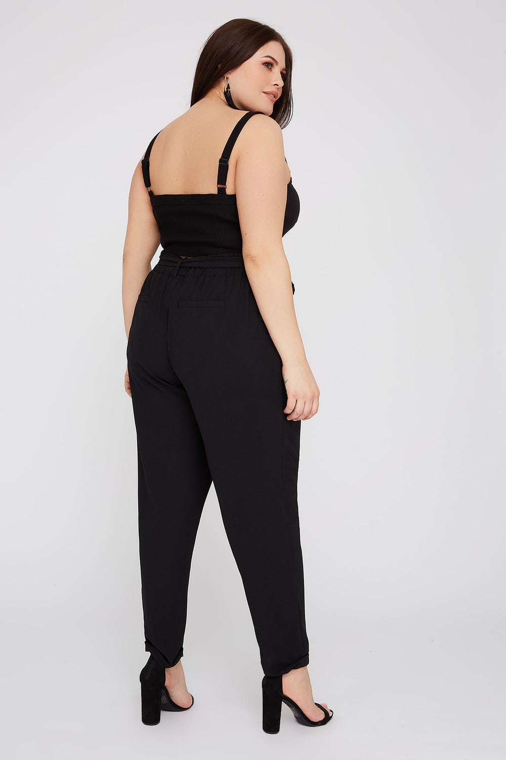 Plus Size High-Rise Self Belted Pant Black