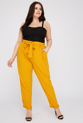 Plus Size High-Rise Self Belted Pant