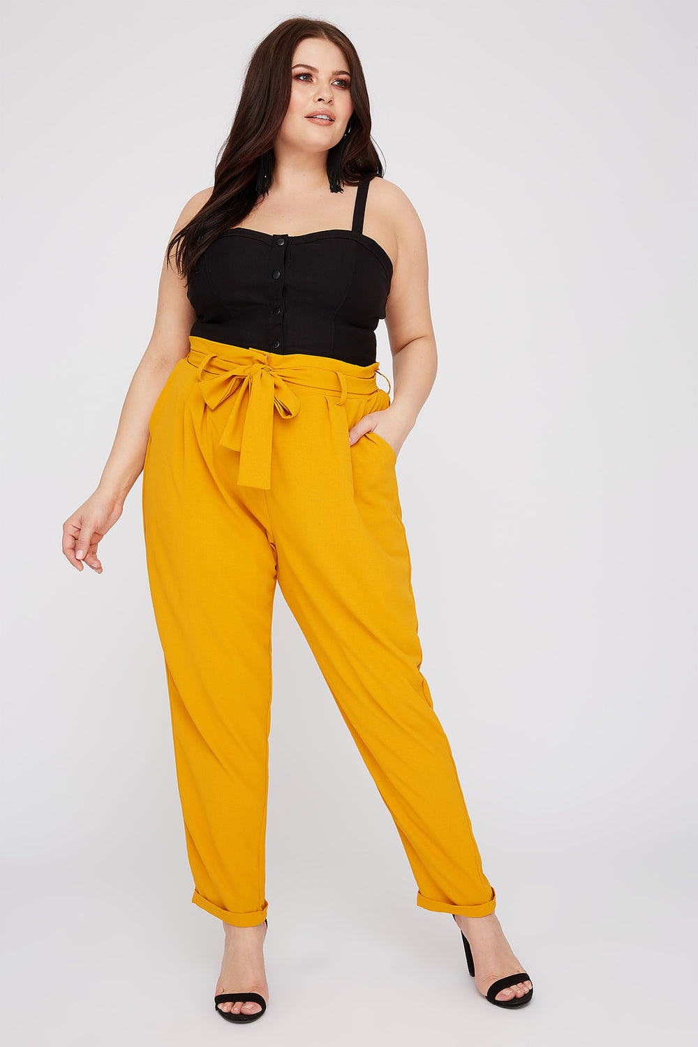 Plus Size High-Rise Self Belted Pant Mustard
