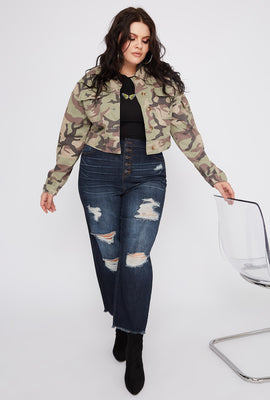 Refuge Plus Size 5-Tier High-Rise Dark Wash Distressed Mom Jean