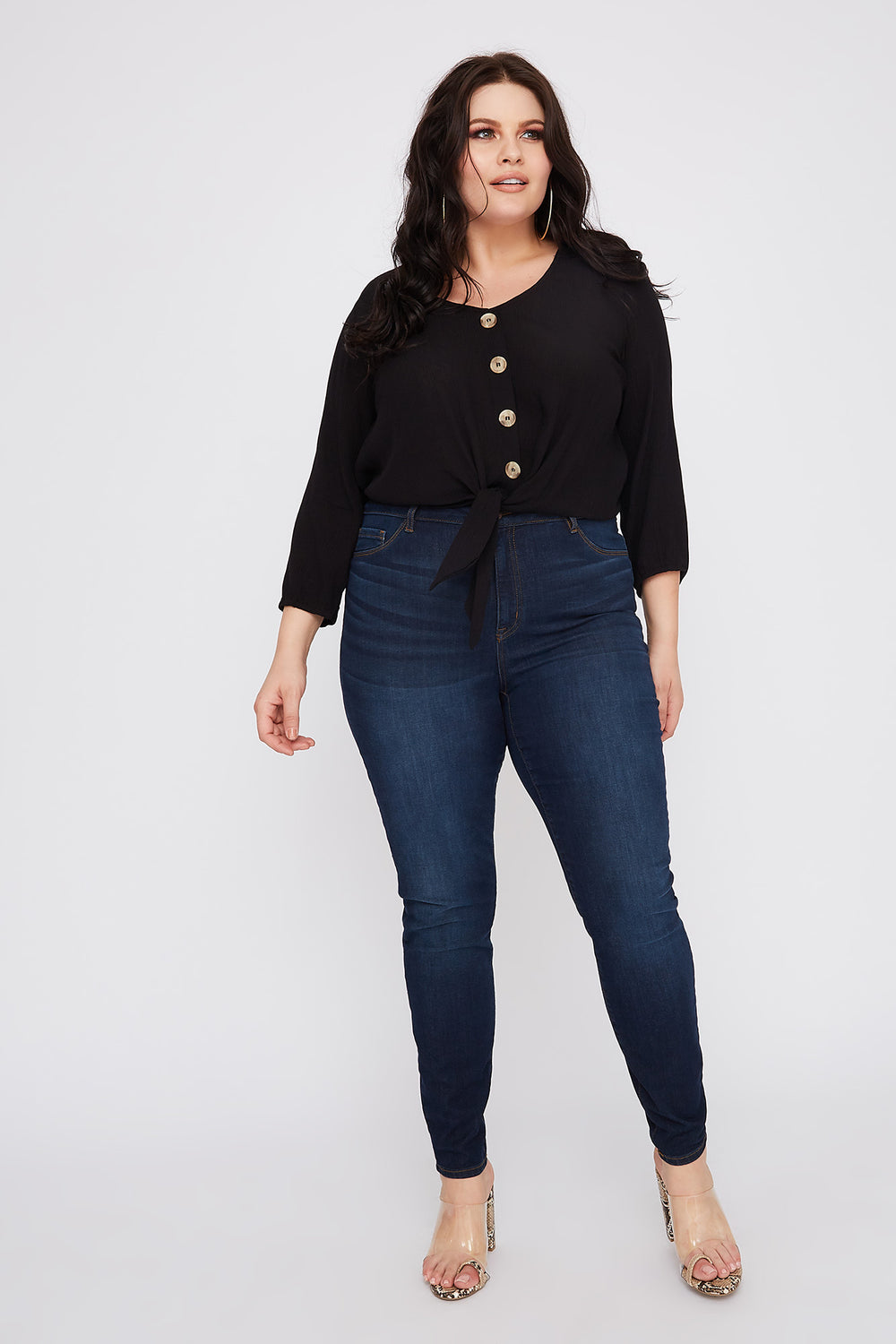 Refuge Plus Size Dark Wash High-Rise Jegging Dark Blue