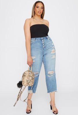 Refuge Plus Size 5-Tier Distressed Mom Jean