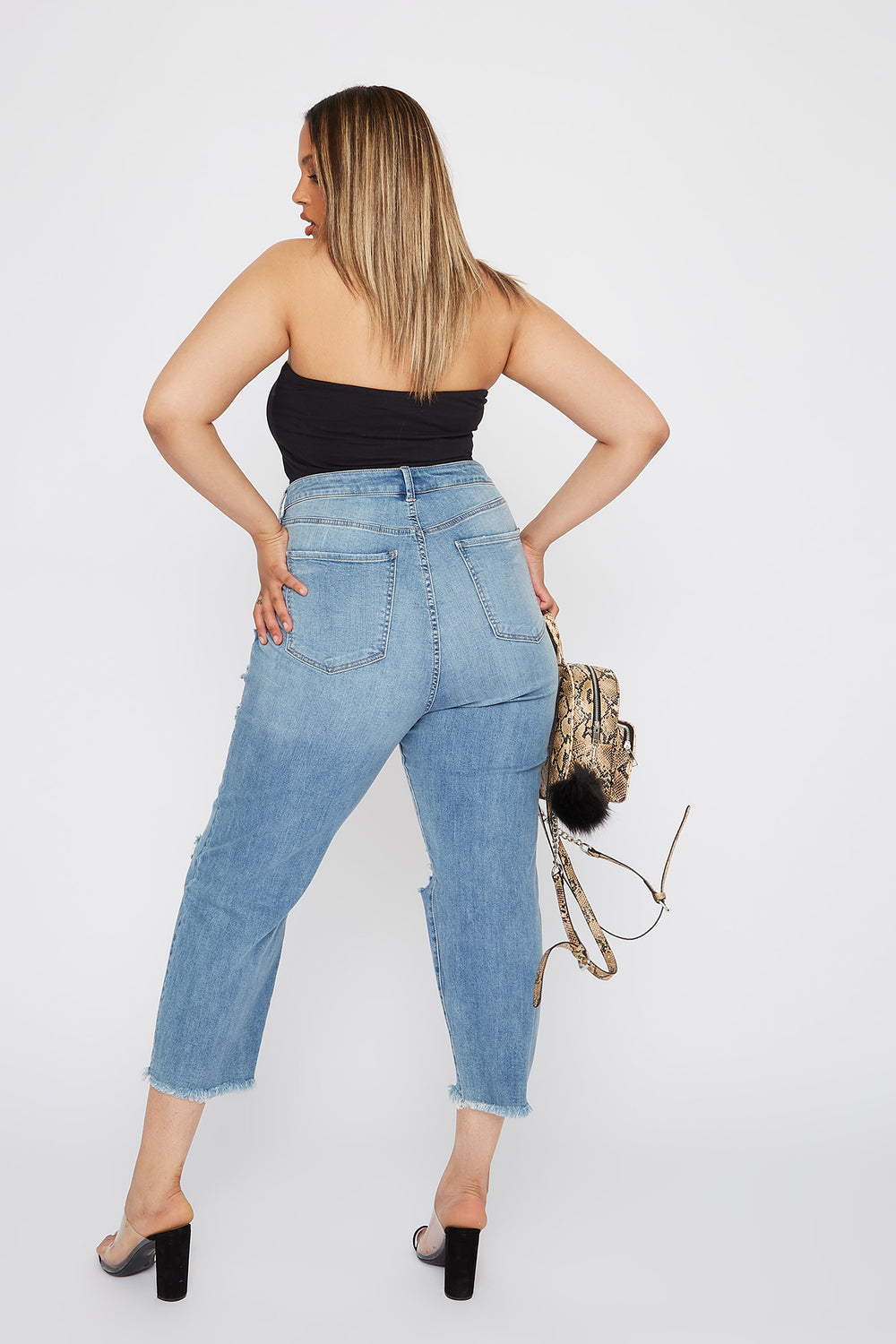 Refuge Plus Size 5-Tier Distressed Mom Jean Medium Blue