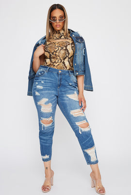 Refuge Plus Size High-Rise Distressed Medium Wash Skinny Boyfriend Jean