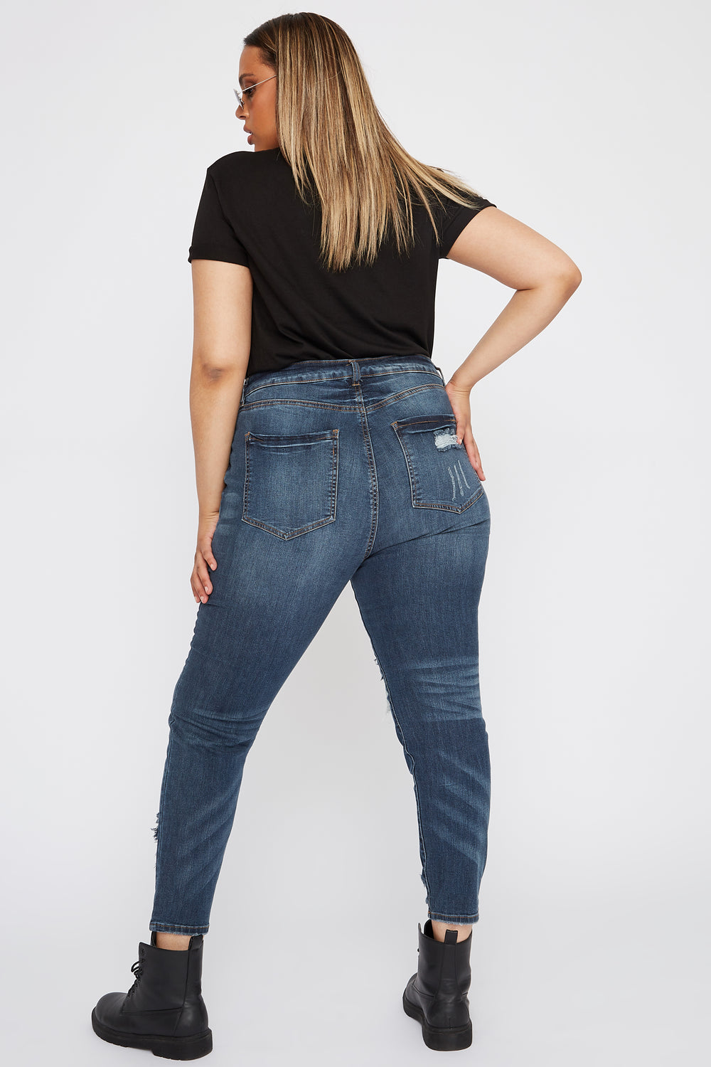Refuge Plus Size High-Rise Distressed Dark Wash Skinny Boyfriend Jean Dark Blue