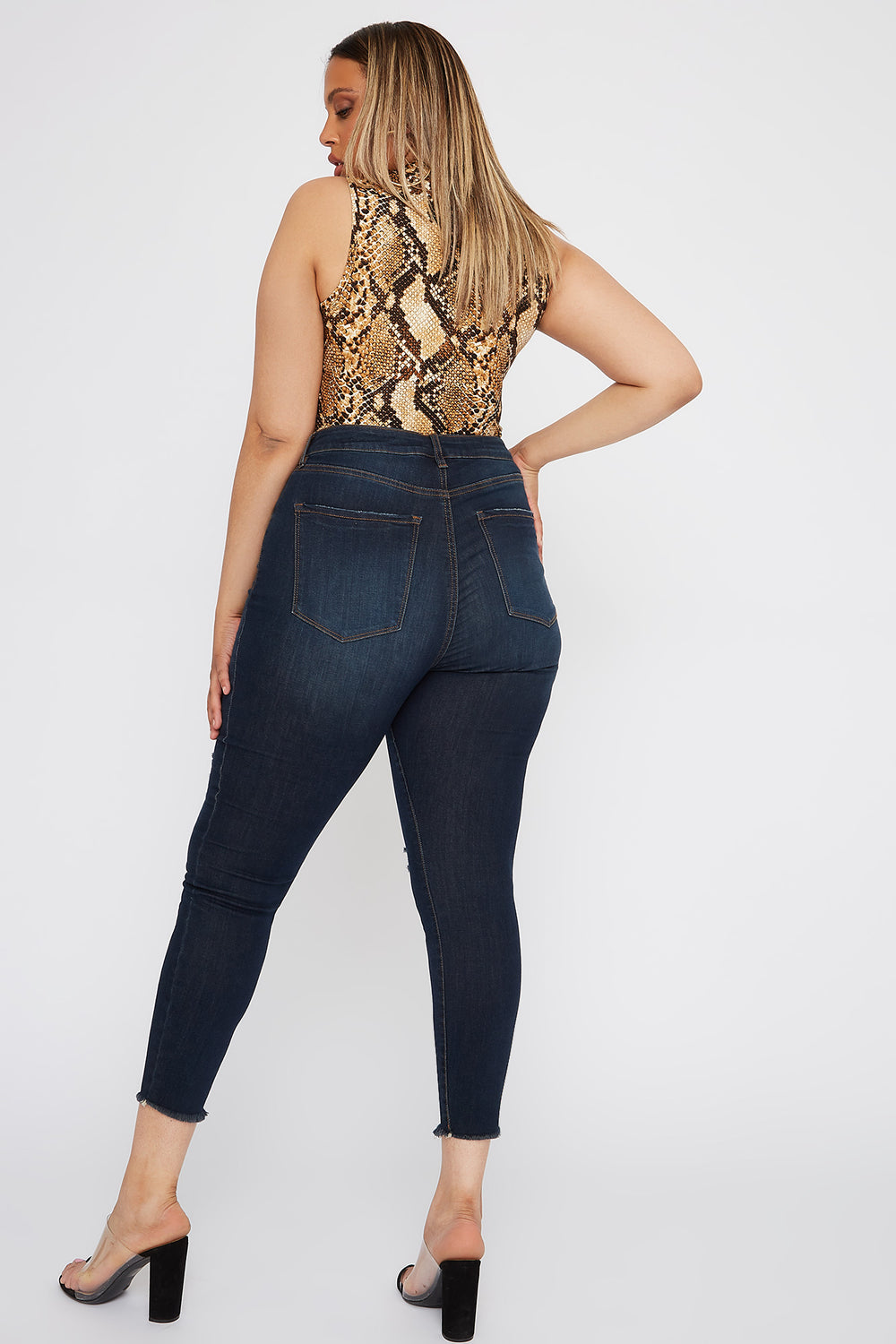 Refuge Plus Size High-Rise Distressed Dark Wash Cropped Jegging Dark Blue
