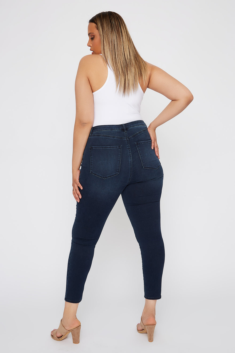 Refuge Plus Size High-Rise Dark Wash Cropped Jegging Dark Blue
