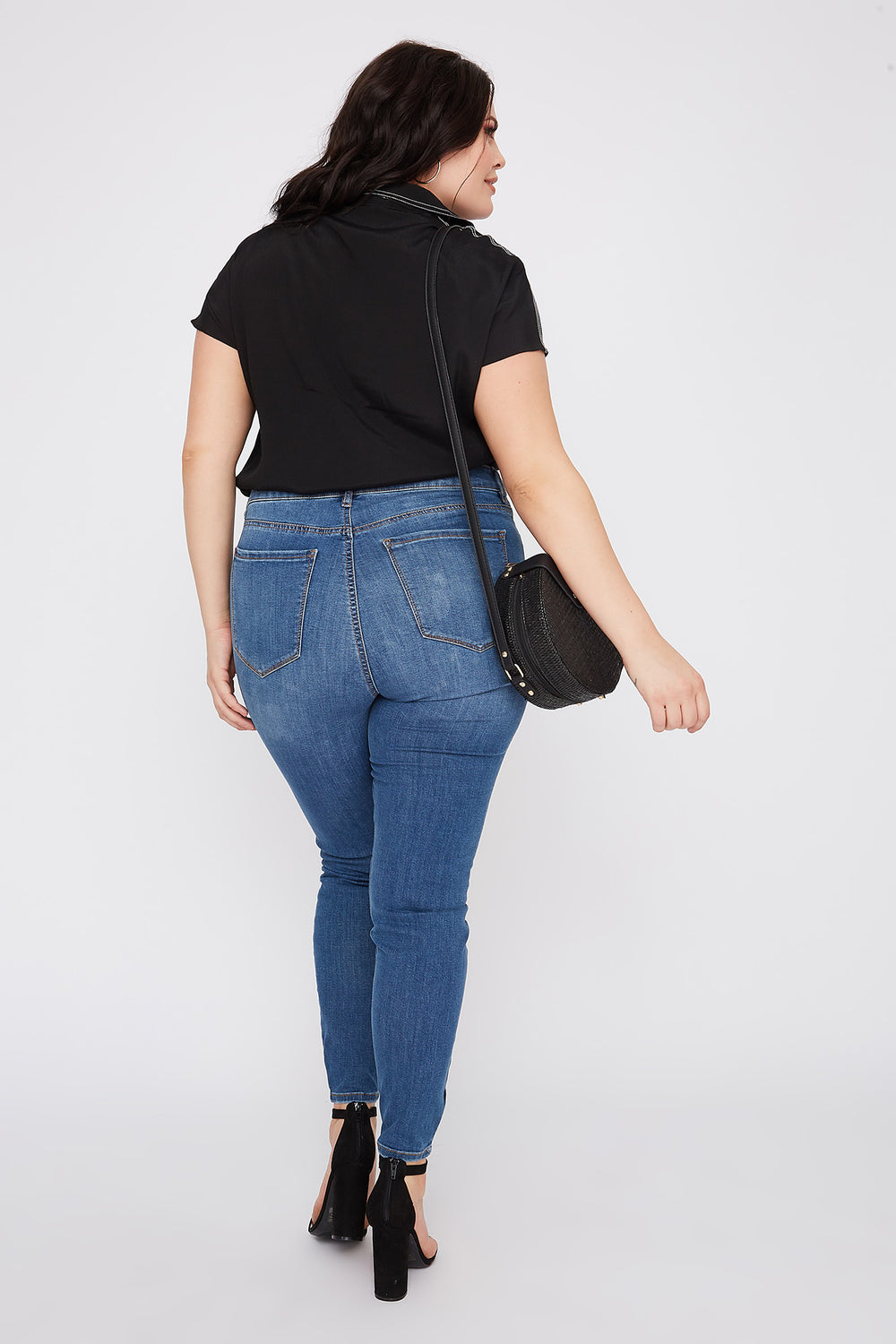 Refuge Plus Size High-Rise Medium Wash Distressed Jegging Medium Blue