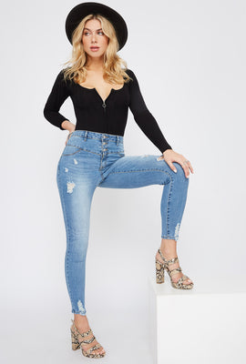Refuge 3-Tier High-Rise Distressed Skinny Jean