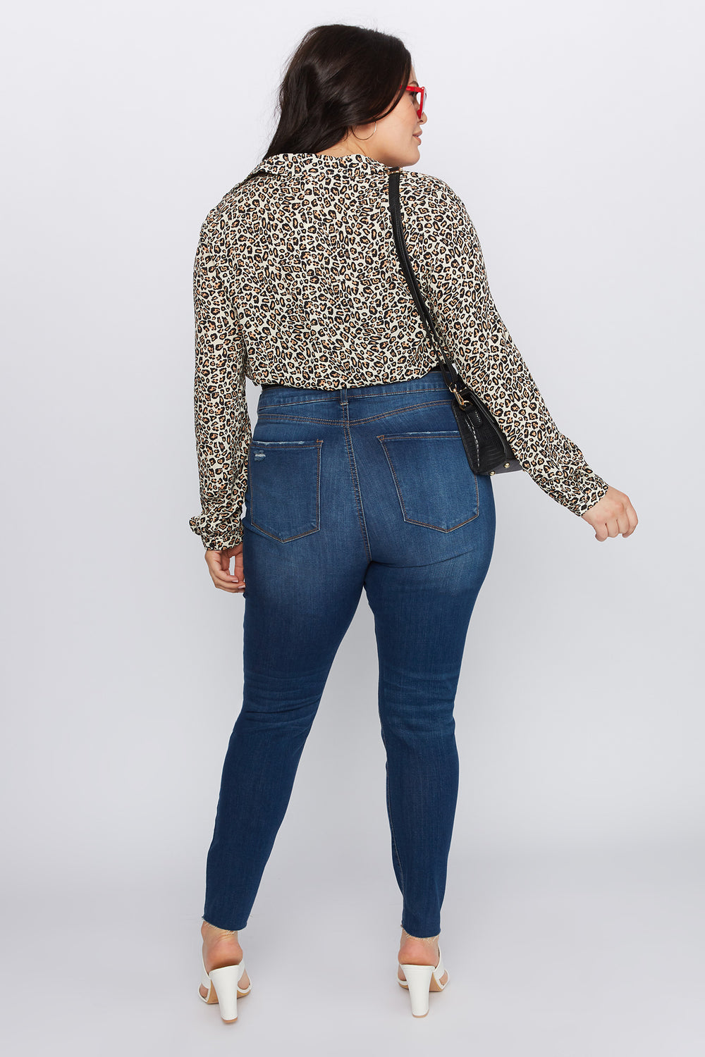 Refuge Plus Size High-Rise Dark Wash Distressed Jeggings Dark Blue