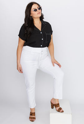 Refuge Plus Size White Self Belt Skinny Jean