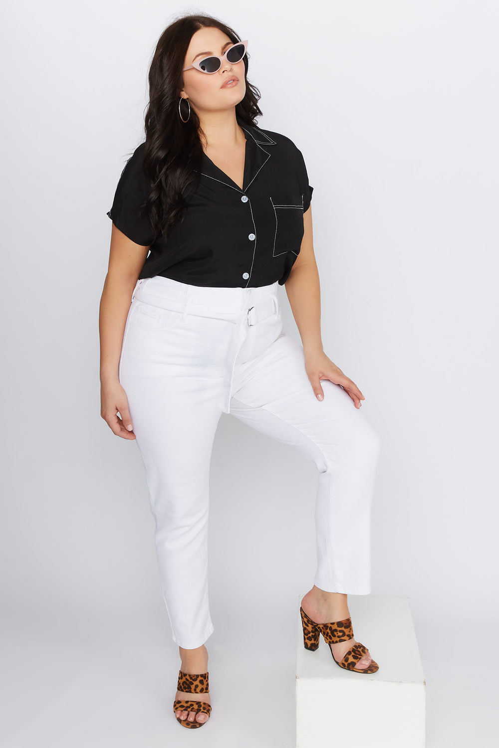 Refuge Plus Size White Self Belt Skinny Jean White