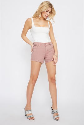 Refuge Shorts de Jean de Cintura Alta Modelo Girlfriend Color Malva