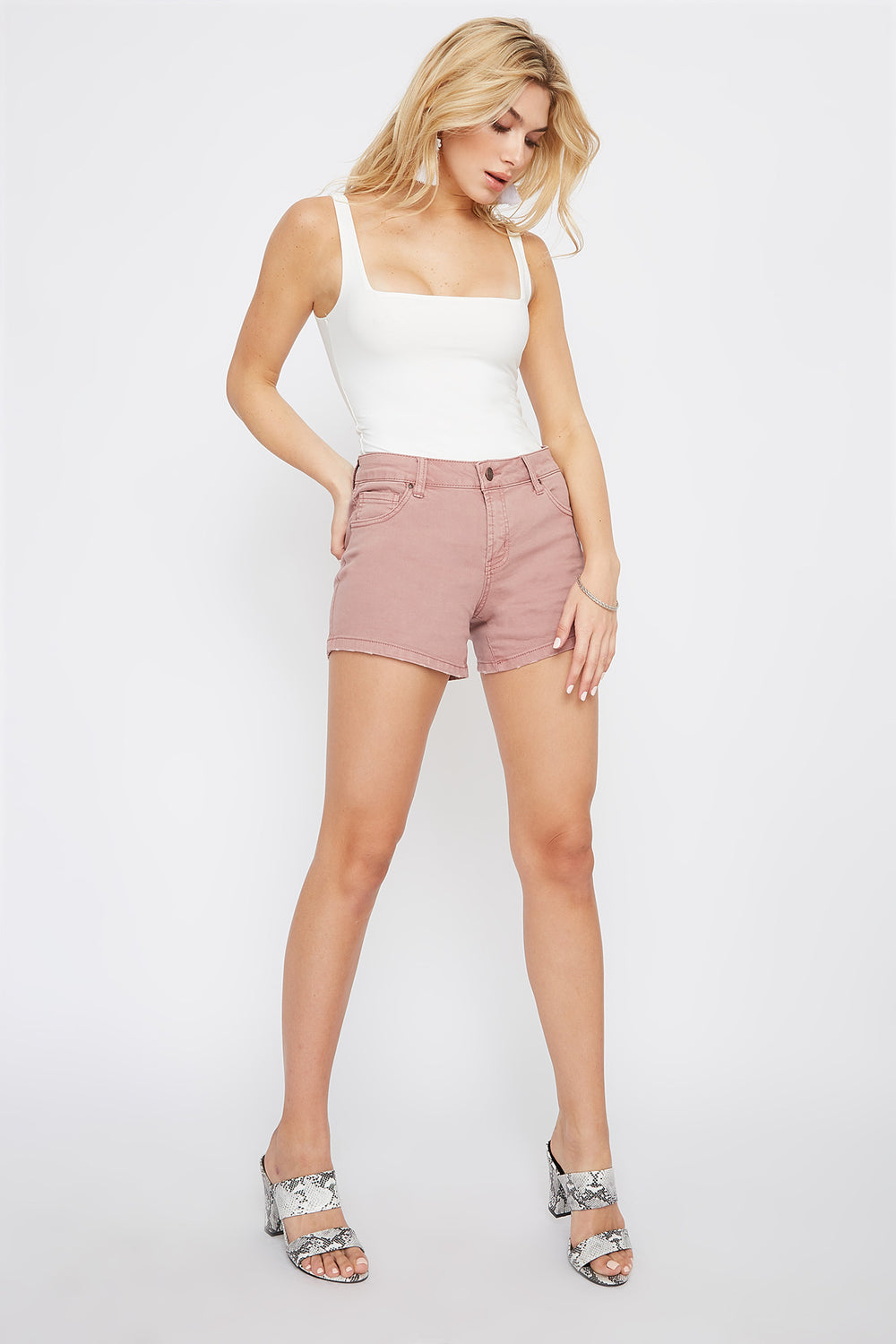 Refuge Mauve High-Rise Girlfriend Denim Short Mauve