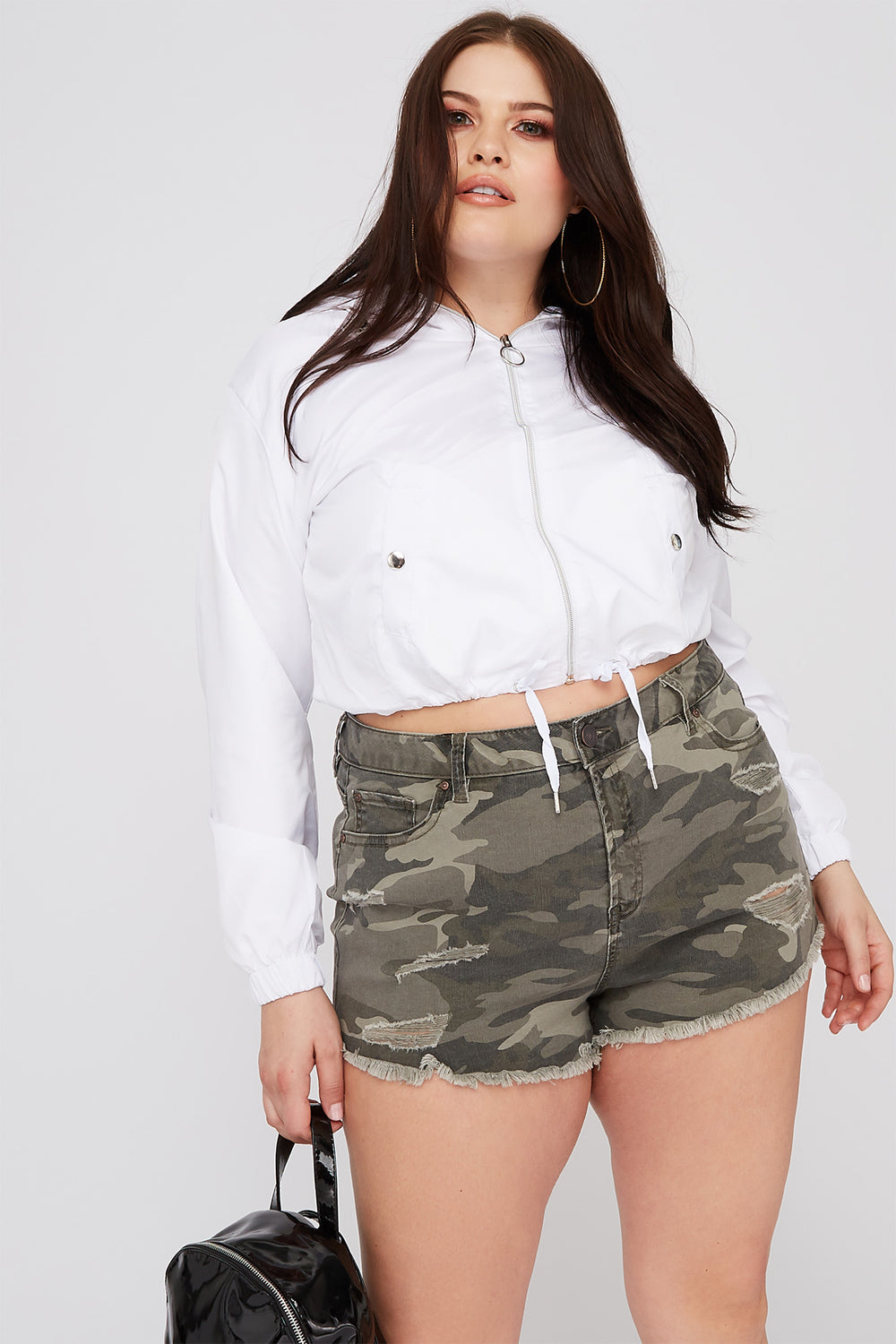 Women Refuge Plus Size Camo High-Rise Distressed Cheeky Denim Short Camouflage