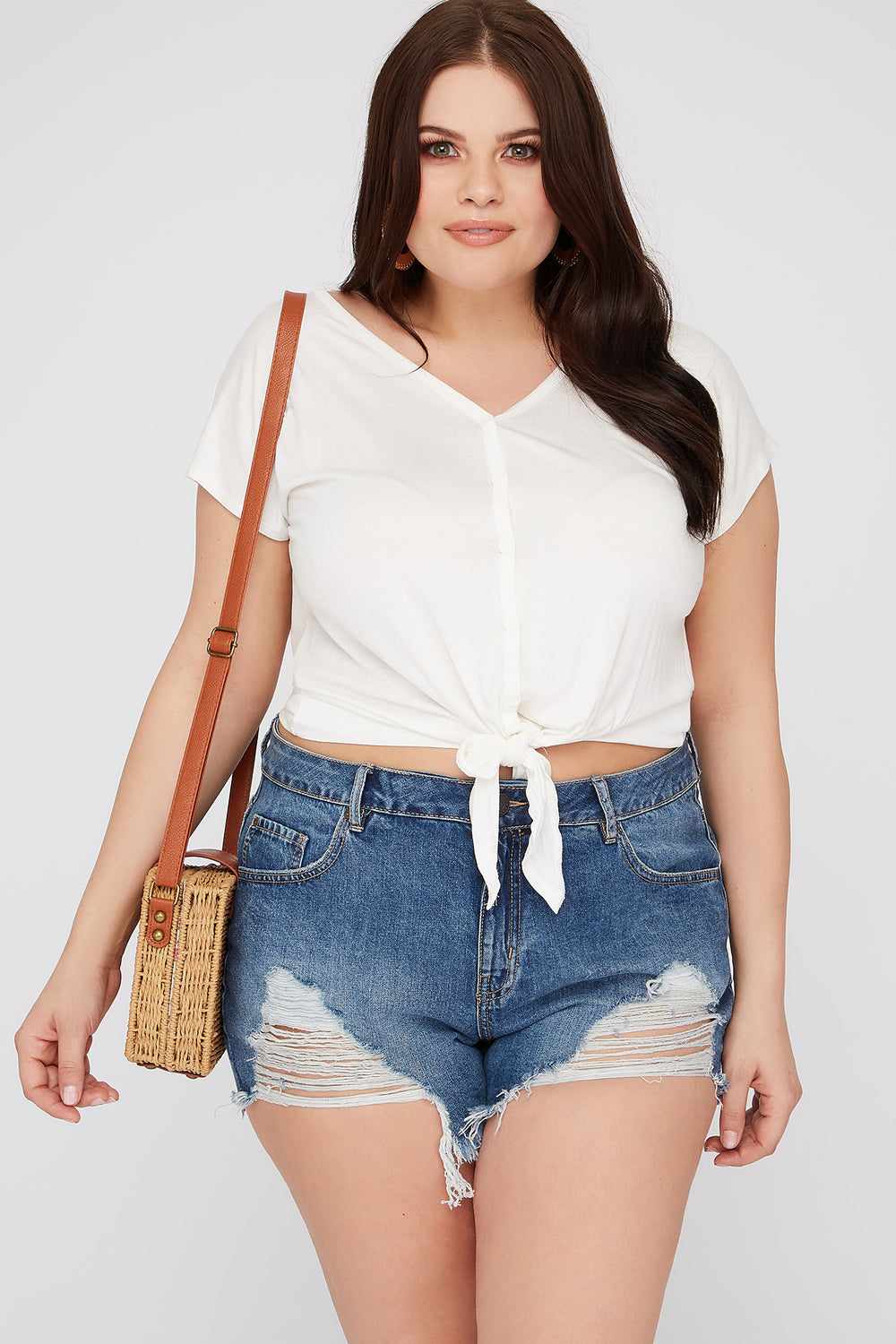 Refuge Plus Size Super High-Rise Distressed Girlfriend Denim Short Dark Blue