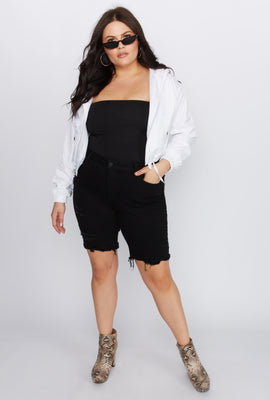 Refuge Plus Size Black Distressed Bermuda Denim Short