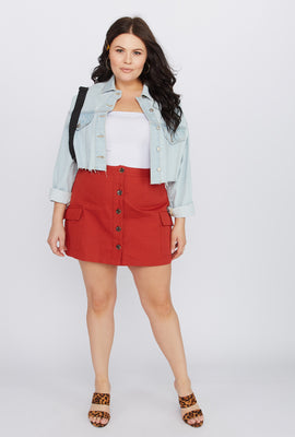 cf89ebc26 Plus Size A-Line Rust Button-Up Cargo Mini Skirt